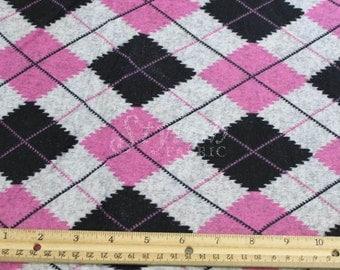 Pink Black Argyle Print Jersey Knit Fabric - 1 Yard Style 6455