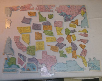 Vintage United States North America Puzzle Up Cycled Single Refrigerator Magnets, Listing for individual magnets not the entire puzzle, 116S