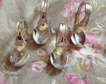 Handmade  Shabby Country traditional spoon napkin rings silverplated