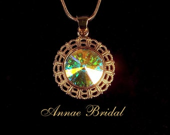 "Crystal Aurora Borealis pendant necklace, Bridal, wedding, gold color, Swarovski, ""Radiant"" necklace"