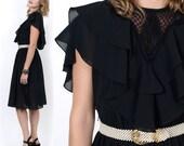 SALE 80's Sheer Black RUFFLES Draped Cut Out Victorian Chiffon Vintage Mourning Dress S/M