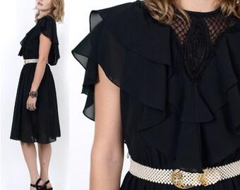 80's Sheer Black RUFFLES Draped Cut Out Victorian Chiffon Vintage Mourning Dress S/M