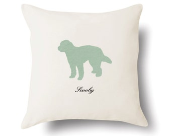 GoldenDoodle Pillow - GoldenDoodle Gift - Personalized Pet Portrait Present - 4 Color Choices