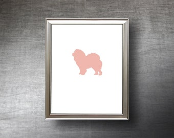 Chow Chow Art 8x10 - Hand Cut Chow Chow Silhouette Print - 4 Color Choices - Personalized Name or Text Optional
