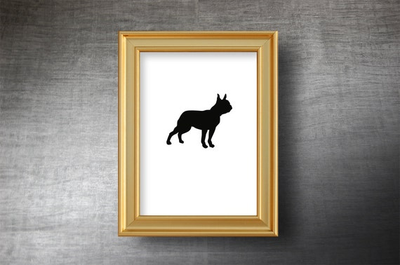 Boston Terrier Wall Art 5x7 - UNFRAMED Hand Cut Boston Terrier Silhouette Portrait - Personalized Name or Text Optional