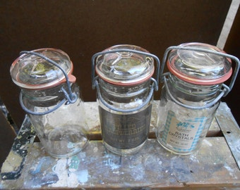 Set of Three Glass Jars with Glass Lids