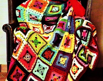 CROCHET PATTERN - Patchwork Granny Squares - Flamboyant Afghan - Throw patchwork Blanket - PDF Instant Download - vintage crochet patterns