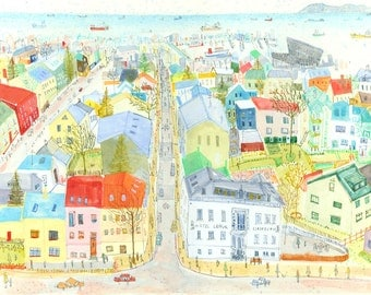 REYKJAVIK VIEW ICELAND, Limited Edition Giclee Art Print from Watercolour Painting by Clare Caulfield, Colourful Reykjavik Houses Rooftops