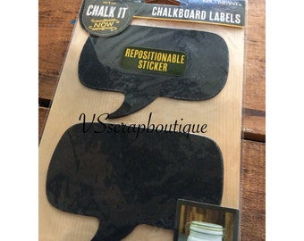 K&Company CHALK IT Chalkboard Labels - 8 repositionable stickers - Word Bubble frame labels