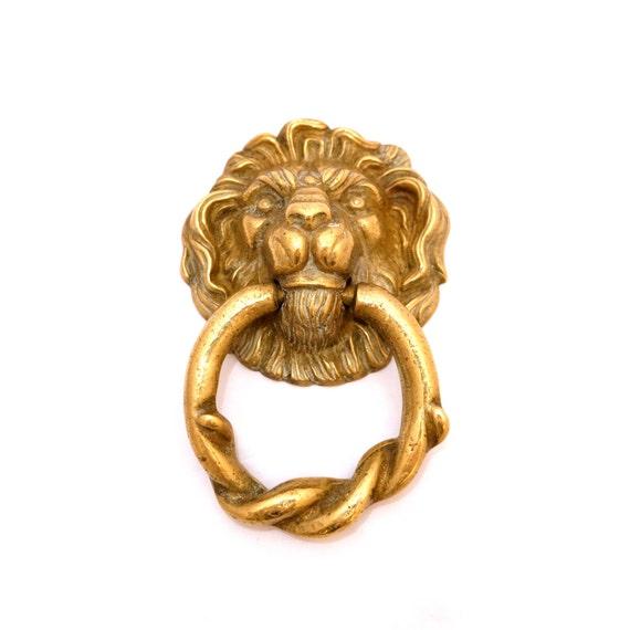 Vintage lions head brass door knocker traditional door - Brass lion head door knocker ...