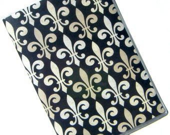 Passport Case Cover Holder -- Fleur de Lis on Black Background