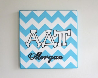 hand painted personalized Alpha Delta Pi letters outline with chevron background 12x12 canvas OFFICIAL LICENSED PRODUCT