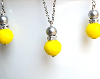 Wedding Jewelry, Brides Jewelry, Gray Pearl And Yellow Crystal Set, Bridesmaid Gifts, gray and yellow Pendant Necklace And Dangle Earrings