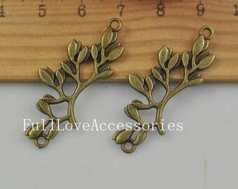 10pcs Antique Brass Olive Branch Charms Pendants 17x38mm Antique Bronze Leaf Charm