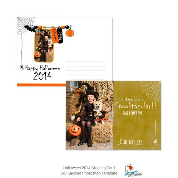 Halloween Greeting Card Photoshop Template 001