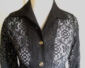 Vintage 1960s Womens Black Lace Jacket Size Small