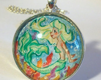 Green Mermaid - Hand Painted - One of a kind - Pearlescent Watercolor Art Pendant Necklace