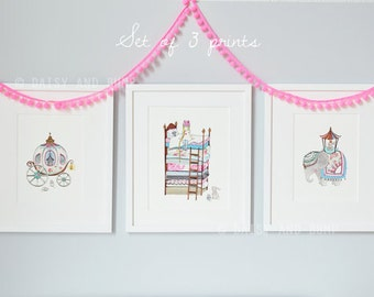 Royal Collection, UNFRAMED Nursery Prints, Princess and the Pea, Princess Carriage, Baby Girl Nursery, Girl's Pictures, Fairytale Art