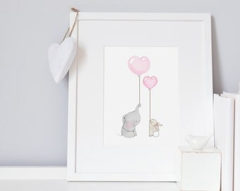 Elephant & Rabbit, UNFRAMED Nursery Art, Baby Girl, Bedroom decor, Bunny Illustration, pastel pink, Pale, Soft, Modern, Baby Girl Print