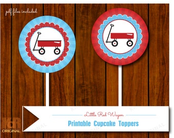Little Red Wagon Cupcake Toppers // Little Red Wagon Party Printable Tags // Little Red Wagon Printable // Instant Download