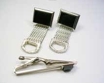 Vintage Mesh Wrap Cufflinks, Tie Clasp, silver color Swank, Men's Jewelry, Formal Wear, Gentleman Gift, Cuff Links, Tie Accessory