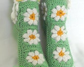 Crochet Wool Women Teenager House Slippers Socks Green White Yellow With Granny Squares Flowers