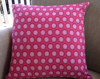 "Amy Butler ""Soul Blossoms"" Laurel Dots in Cherry 45cm cushion cover/pillow backed with EST French linen"