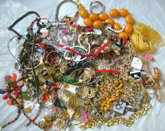 Vintage JUNK Destash Jewelry Lot 35% Are Wearable Salvage Needs Repair Broken Missing Stones Rhinestone For Art Crafting Keep Yourself Busy