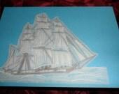 Sailing ship. Handmade  Card - Parchment Craft. Birthday,Retirement,Anniversary. Husband,Dad,Grandad,Son