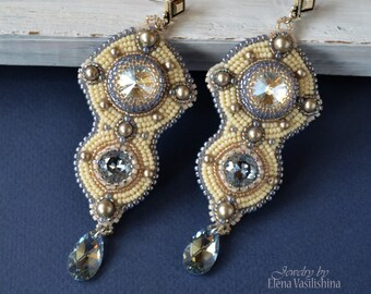 Bead embroidery Earrings - Мoonlight  with  Swarovski  crystals