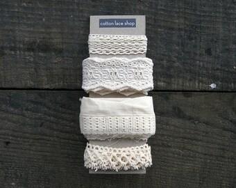 Cotton Lace Fabric Trim Lot