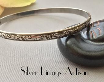 Sterling Silver - Stacking Bangle - Antiqued Floral Pattern - Handmade Bracelet - Metal work Bangle