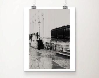 Cambridge photograph bicycle photography rain photograph Cambridge print bicycle print black and white photography travel photography