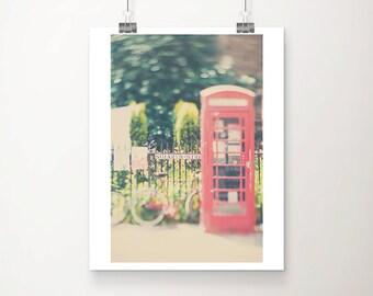 Cambridge photograph red telephone box photograph red bicycle photograph English decor England photograph travel photography
