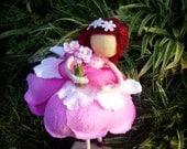 Pink Flower Petal Doll, Pink Petal Doll, Short-hair doll, No face doll