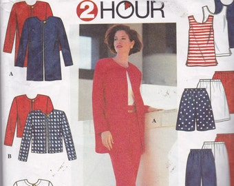 Simplicity 7249 Vintage Pattern Womens Jacket and Top in 2 Variations, Shorts and Pants Size X Sm, Sm, Med