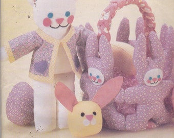 Butterick 5388 Craft Pattern Easter Basket in 4 Variations Stuffed Bunny, Cat, Bear or Duck and Fabric Eggs UNCUT
