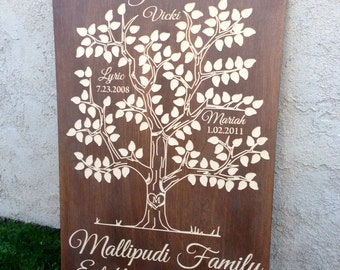 Custom carved family tree