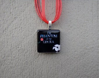 Broadway Musical The Phantom of the Opera Glass Pendant and Ribbon Necklace