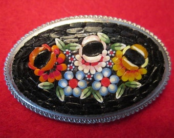 Micro Mosaic  Brooch. 2 in. wide.