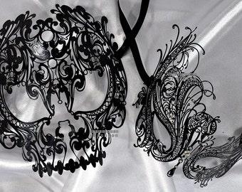 Lovers Men and Women Couple Masks Masquerade Ball Laser Cut Metal masks