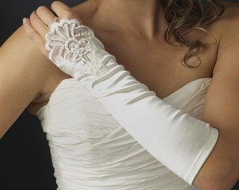 Formal Below The Elbow Fingerless Bridal Gloves with Laces and Pearls A Pair (White or Ivory)