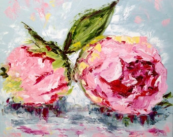 "Two Pink Peonies - abstract impression original oil painting with palette knife and texture 24""x24"""