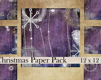 Christmas 12 x 12 digital paper pack scrapbook collage sheet purple modern printable textured instant download