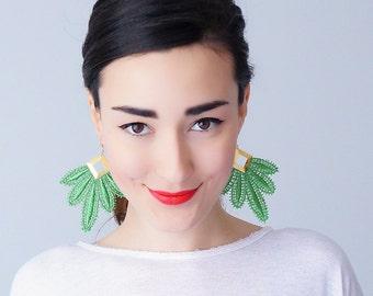 Green Earrings Statement Earrings Lace Earrings Boho Earrings Long Earrings Leaf Earrings Fashion Earrings Gift For Her / CLAVESA