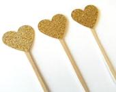 12 Gold Glitter Heart Picks