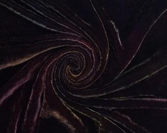 Hand Dyed Silk Velvet, Hand Dyed Devore Silk, Sludgy Green, Brown, 1553