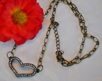 Heart Necklace of brass with rhinestones, simple, boho, minimalist