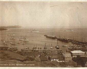North Altantic Squadron ships in La Guaira Venezuela antique albumen photo