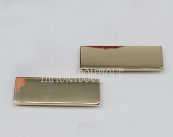 light gold metal bar (branding plate) x 10 PIECES!!! (44mm x 14mm) use in front of bag / purse metal hardware, accessories etc..